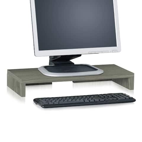 Eco 2 Tier Computer Monitor Stand TV Shelf and Laptop Risers, Grey LIFETIME GUARANTEE