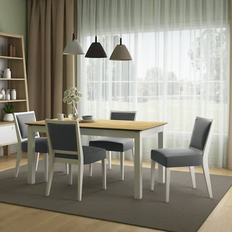 The Gray Barn Hera 5-piece Smart Top Dining Table and Upholstered Armless Dining Chairs