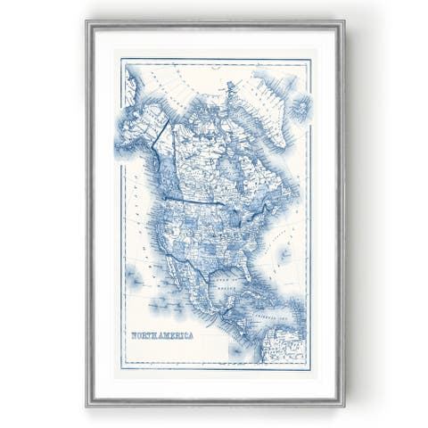 North America in Shades of Blue -Custom Framed Print