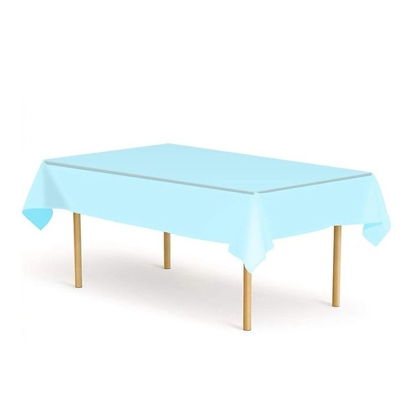 """Set of 6 Plastic Disposable Table Cloths for Party Blue 52"""" x 108"""""""