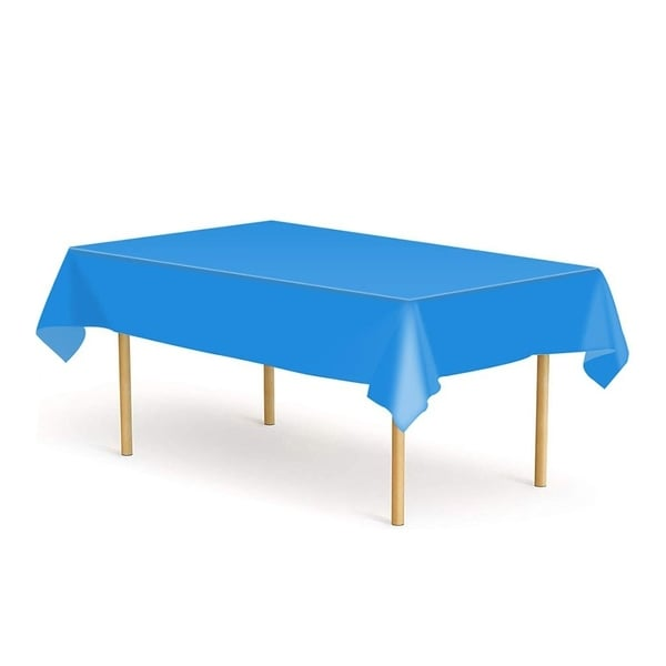 """Set of 6 Plastic Disposable Table Cloths for Party Deep Blue 52"""" x 108"""""""