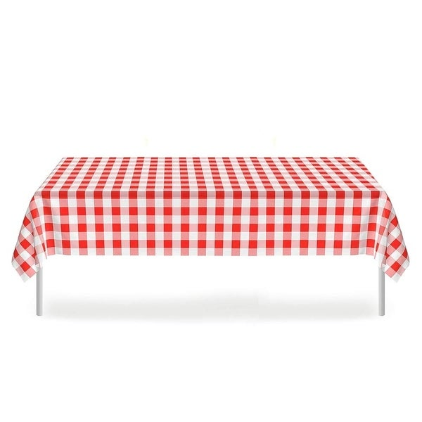 "Set of 6 Plastic Disposable Table Cloths for Party Red and White Checkered 52"" x 108"""