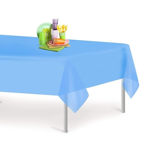 Sky Blue 6 Pack Premium Disposable Plastic Tablecloth 54 Inch. x 108 Inch. Rectangle