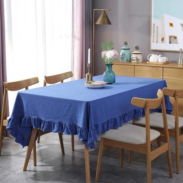 """Cotton Linen Tablecloth Flounces Fabric Dust-Proof Table Cover Blue Oblong 55"""" x 102"""""""