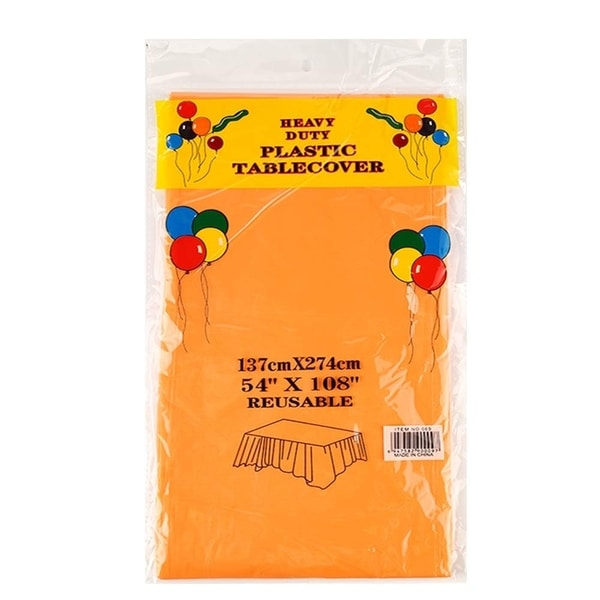 """Set of 6 Plastic Disposable Table Cloths for Party Orange 52"""" x 108"""""""