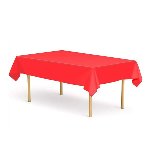 "Set of 6 Plastic Disposable Table Cloths for Party Red 52"" x 108"""