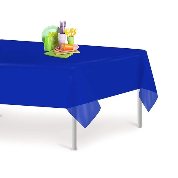 Blue 6 Pack Premium Disposable Plastic Tablecloth 54 Inch. x 108 Inch. Rectangle