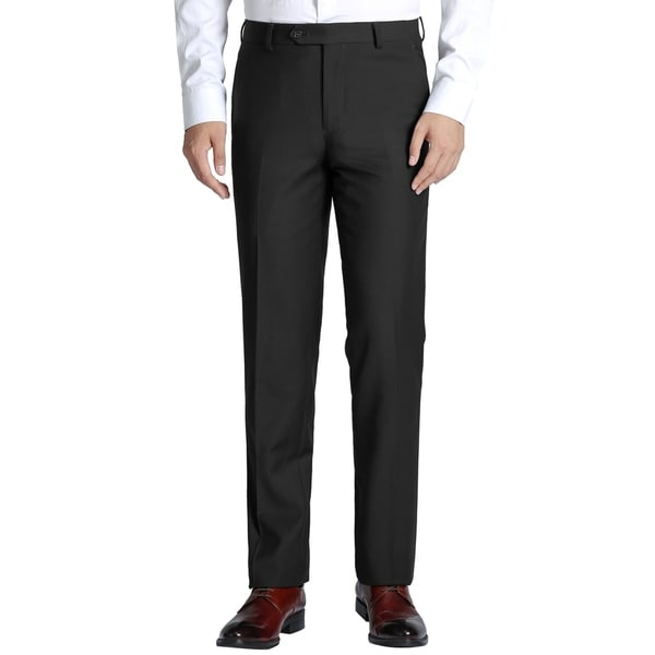Mens Slim-fit Flat Front Suit Separate Dress Pant
