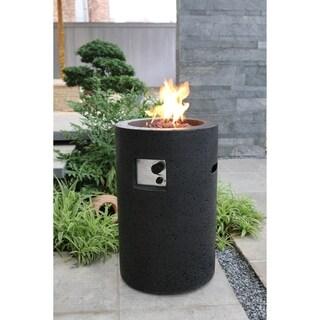 Modeno Lava Tube Black Concrete color Fire Pit Propane 40,000 BTUs