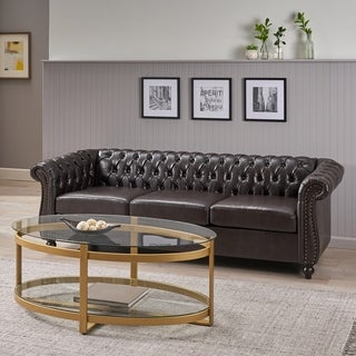 Parksley Tufted Chesterfield Faux Leather 3 Seater Sofa by Christopher Knight Home