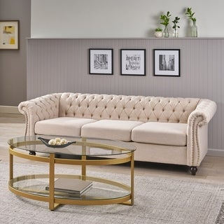 Parksley Tufted Chesterfield Fabric 3-seater Sofa by Christopher Knight Home