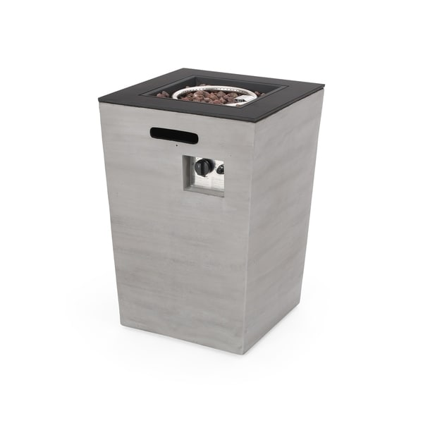 """Langton Outdoor Modern 19.5-Inch Fire Column by Christopher Knight Home - 19.50"""" W x 19.50"""" L x 29.00"""" H"""