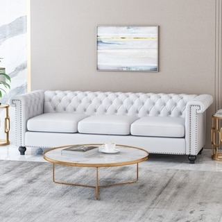 Parkhurst Tufted Chesterfield Faux Leather 3 Seater Sofa by Christopher Knight Home