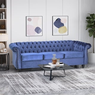 Parksley Tufted Chesterfield Velvet 3 Seater Sofa by Christopher Knight Home