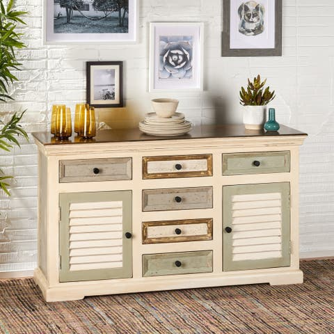 Padfield Boho Mango Wood 2 Door Sideboard with 6 Drawers by Christopher Knight Home