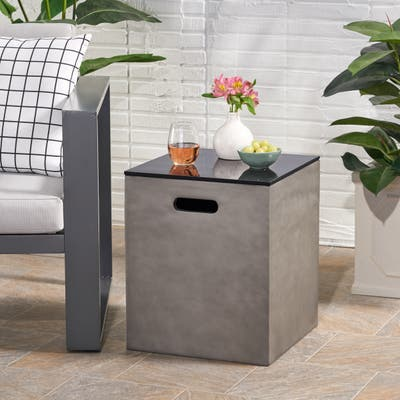 """Aido Outdoor Modern Tank Holder Side Table by Christopher Knight Home - 16.00"""" W x 16.00"""" L x 20.00"""" H"""