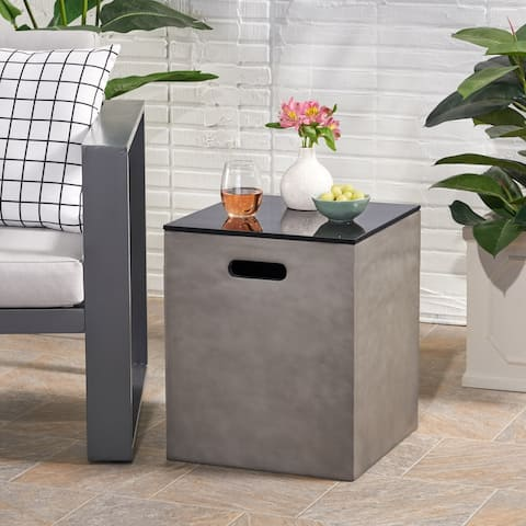 "Aido Outdoor Modern Tank Holder Side Table by Christopher Knight Home - 16.00"" W x 16.00"" L x 20.00"" H"