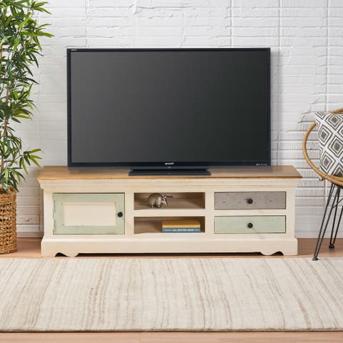 Paladora Boho Mango Wood 1 Door TV Cabinet with 2 Drawers by Christopher Knight Home