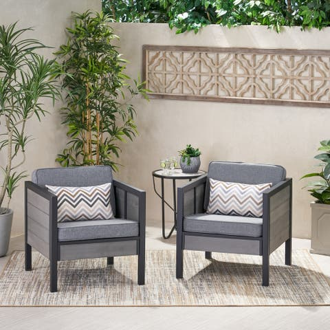 Jax Outdoor Faux Wood Club Chair with Cushions (Set of 2) by Christopher Knight Home