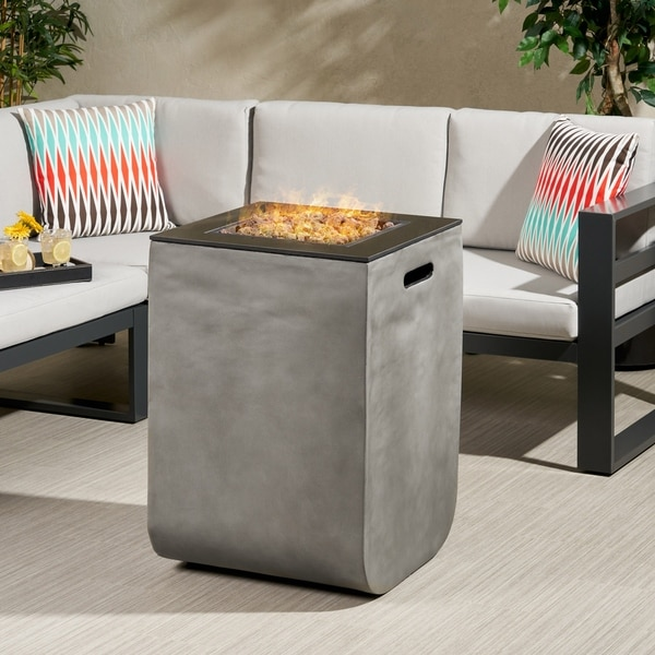 """Adio Outdoor Modern 19.5-Inch Fire Column by Christopher Knight Home - 19.50"""" W x 19.50"""" L x 28.50"""" H. Opens flyout."""