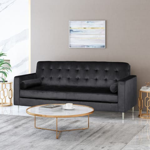 "Poynes Modern Glam Tufted Velvet 3 Seater Sofa by Christopher Knight Home - 82.50"" W x 34.50"" L x 35.50"" H"