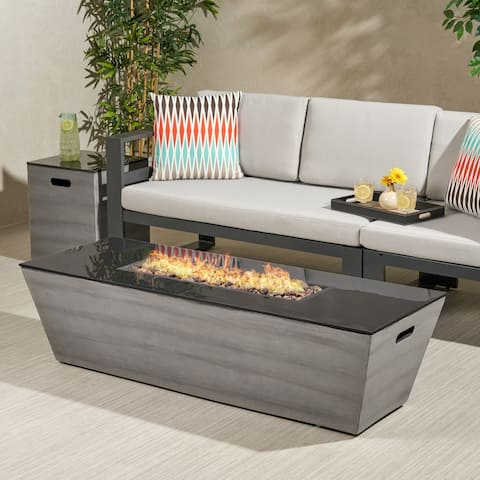 "Langton Outdoor 56-Inch Rectangular Fire Pit with Tank Holder by Christopher Knight Home - 16.00"" W x 16.00"" L x 20.00"" H"