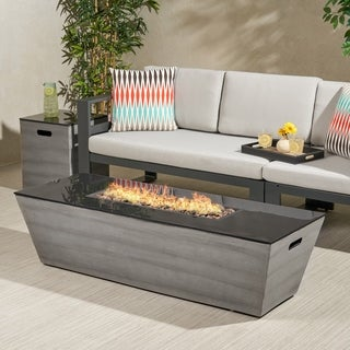 """Link to Langton Outdoor 56-Inch Rectangular Fire Pit with Tank Holder by Christopher Knight Home - 16.00"""" W x 16.00"""" L x 20.00"""" H Similar Items in Outdoor Decor"""