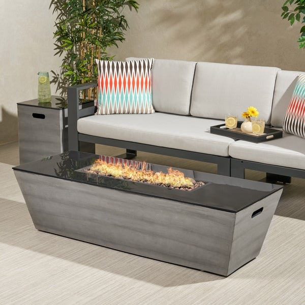 """Langton Outdoor 56-Inch Rectangular Fire Pit with Tank Holder by Christopher Knight Home - 16.00"""" W x 16.00"""" L x 20.00"""" H. Opens flyout."""