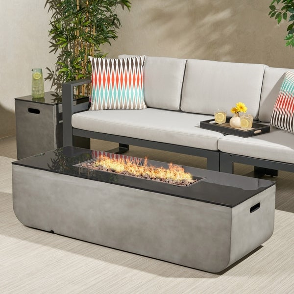 Adio Outdoor 56-Inch Rectangular Fire Pit with Tank Holder by Christopher Knight Home