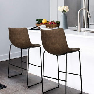 Carbon Loft Aube Vintage Faux Leather Bar Stools (Set of 2)