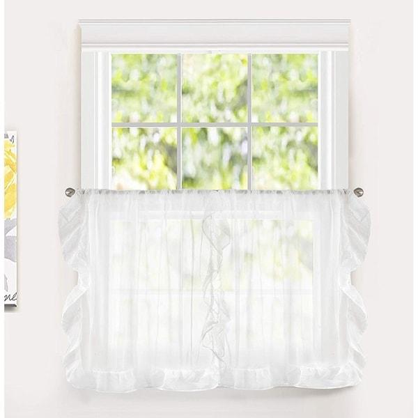 DriftAway Sophie Sheer Ruffle Edge Kitchen Tier Rod Pocket Window Curtain Set of Two - 30'' width x 36'' length. Opens flyout.