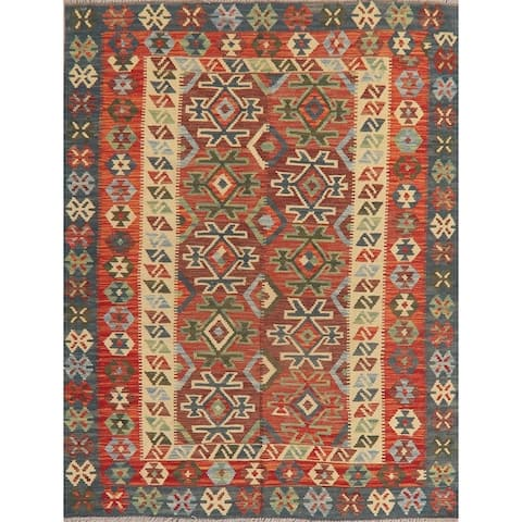 "Flat-Weave Geometric Turkish Kilim Oriental Wool Hand-Woven Area Rug - 5'0"" x 6'7"""