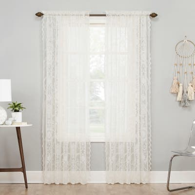 No. 918 Ariella Floral Lace Rod Pocket Curtain Panel, Single Panel