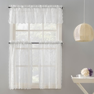 No. 918 Ariella Floral Lace Rod Pocket Kitchen Curtain Valance and Tiers Set