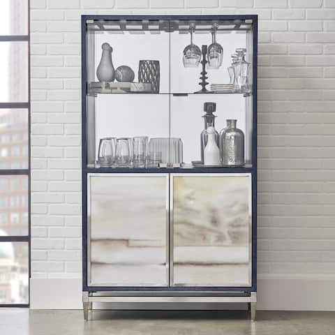 Modern Navy Blue Finish Mirrored Home Bar Cabinet