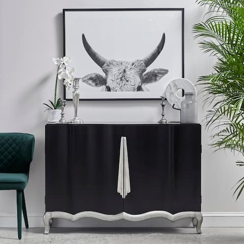 Black and Silver Modern Ribbon Inspired Accent Chest