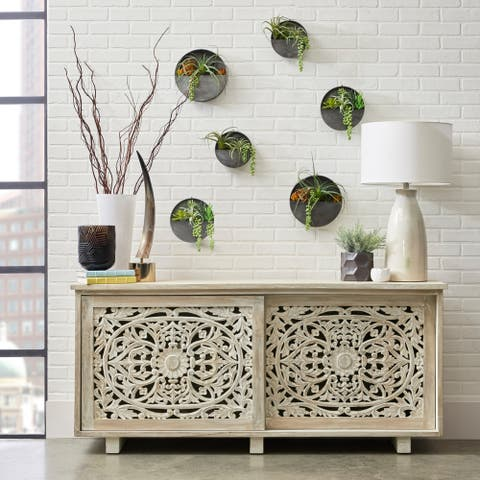 Weathered Brown Floral Carved Sliding Door Accent Chest