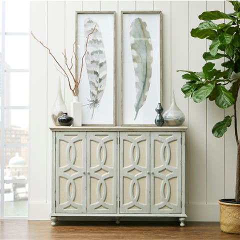Weathered Grey Wood and Fabric 4-door Console