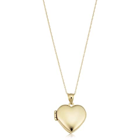 14k Yellow Gold Polished Heart Locket Pendant Rope Chain Nekclace (18 inches)