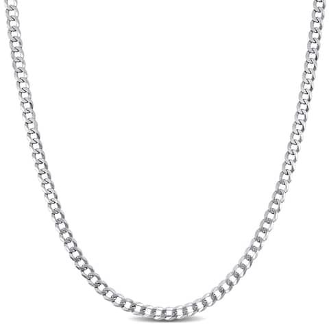 Miadora 10k White Gold 24-Inch Men's Flat Curb Link Chain (3 MM)