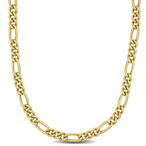 Miadora 10k Yellow Gold 20-Inch Men's Figaro Link Chain (4 MM)
