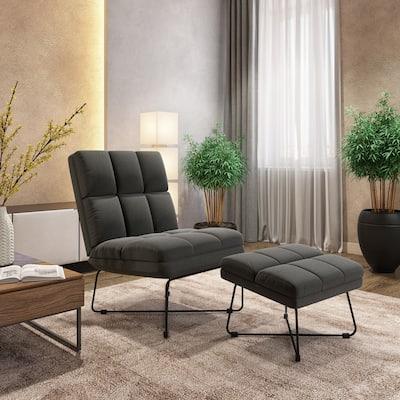 Carson Carrington Pama Modern Armless Chair and Ottoman