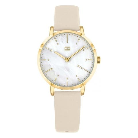 Tommy Hilfiger Gold-Tone Leather Ladies Watch 1782038