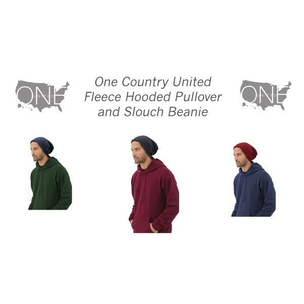 One Country United Fleece Hooded Pullover with Slouch Beanie