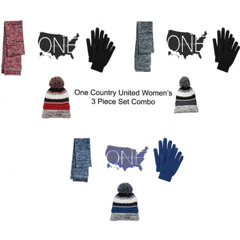 One Country United Women's Marled Scarf, Pom Pom Beanie & Gloves