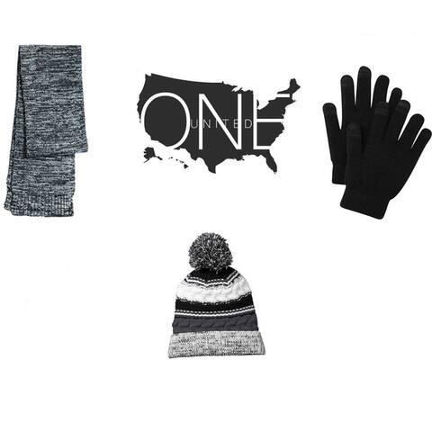 One Country United Women's Marled Scarf, Pom Pom Beanie & Gloves