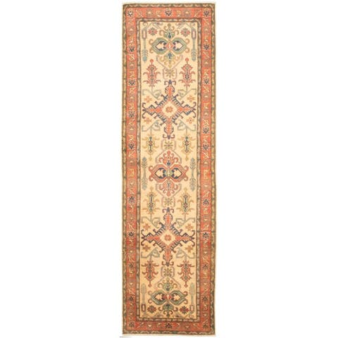 Hand-knotted Finest Gazni Cream Wool Rug