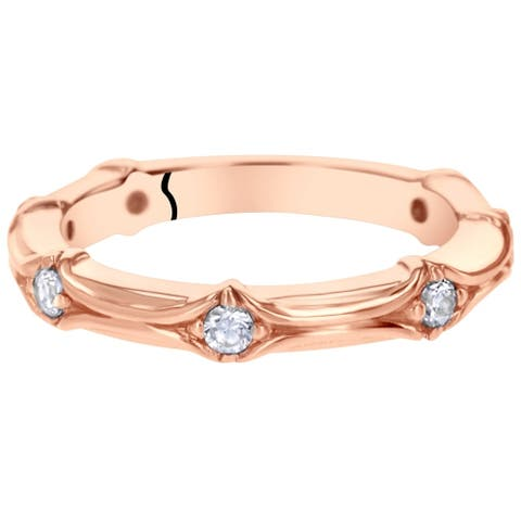 0.42 cts Cubic Zirconia Stackable Ring in Rose Sterling Silver, Contoured Band, 2.30mm