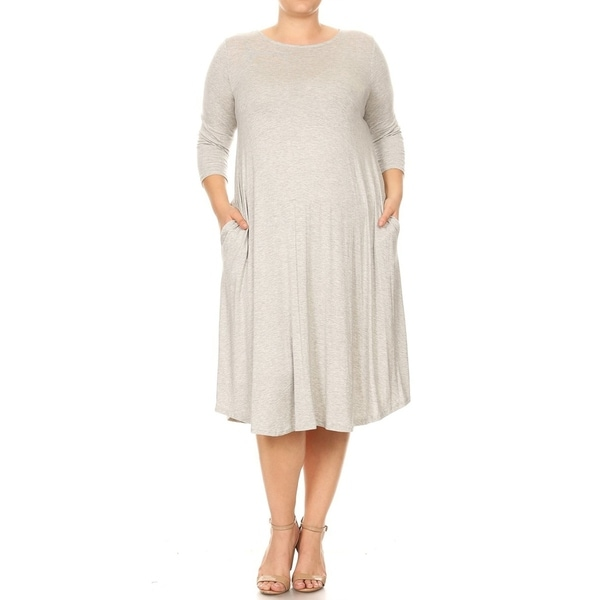 Women's Casual Basic Curved Hem Plus Size Midi Dress. Opens flyout.