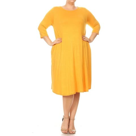 Women's Casual Basic Curved Hem Plus Size Midi Dress